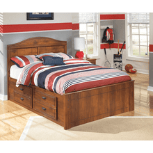 Barchan- Medium Brown- Full Panel Bed with Under Bed Storage