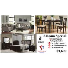 3 room Includes, queen bed, nightstand, dresser mirror, chest, sofa & loveseat, 3pc coffee table set,  table and four chairs