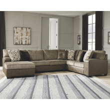 Abalone - Chocolate - 3-Piece Sectional with Left Chaise
