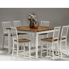 Arlington 24 Slat Back Barstool - White and Java
