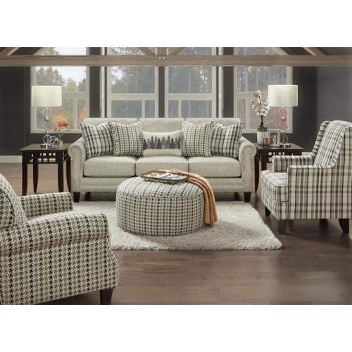 Fusion Furniture - Plaid Grey Ottoman