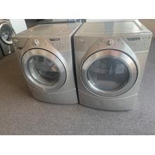 Refurbished Grey Whirlpool Duet Front Load Washer Dryer Set  Please call store if you would like additional pictures. This set carries our 6 month warranty, MANUFACTURER WARRANTY AND REBATES ARE NOT VALID (Sold only as a set)