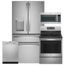 """See Details - GE Smart 27.9 Cu. Ft.  4-Door French-Door Refrigerator & 30"""" Electric Convection Range with No Preheat Air Fry- Open Box"""