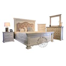 Chalet Queen Padded Bed, Nightstand, Dresser, and Mirror