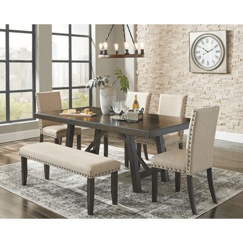 Rokane - Brown - 6 Pc. - Rectangular Extension Table, 4 Upholstered Chairs & Upholstered Bench