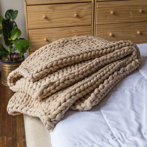 Chunky Knit Throw - Taupe