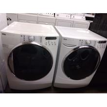 Refurbished White Kenmore Elite White Front Load Washer Dryer Set. Please call store if you would like additional pictures. This set carries our 6 month warranty, MANUFACTURER WARRANTY AND REBATES ARE NOT VALID (Sold only as a set)