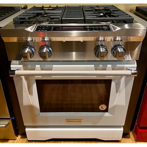 KitchenAid KDRS407VMW   30'' 4-Burner Dual Fuel Freestanding Range, Commercial-Style Imperial White