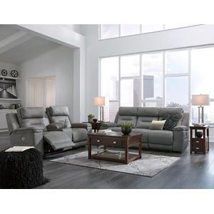 Trampton- Smoke Pwr Reclining Sofa and Loveseat w/ adj Headrest & Lumbar