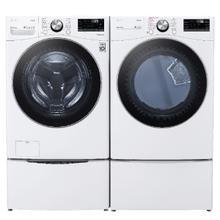 LG Mega Capacity Smart wi-fi Enabled 5.0 cu. ft. Front Load Washer & 7.4 cu. ft. Electric Dryer w/ Pedestals- White