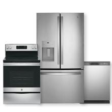 GE ENERGY STAR 25.6 Cu. Ft. Fingerprint Resistant French-Door Refrigerator 3-Piece Package