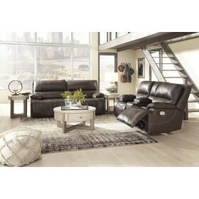 Power Reclining Sofa & Console Loveseat W/ Adjustable Headrest Walnut