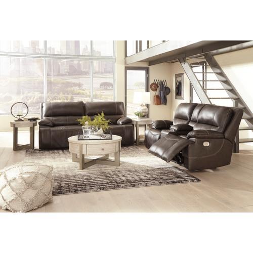 Power Reclining Sofa & Console Loveseat W/ Adjustable Headrest Walnut