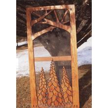 Handmade rustic wooden screen door featuring a forest theme.