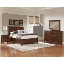 King Cherry 4 PC Bedroom Set - Sleigh Bed with Storage Footboard