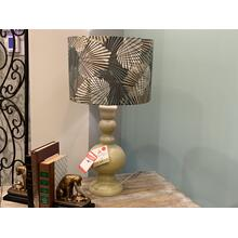 Green Table Lamp with Patterened Shade