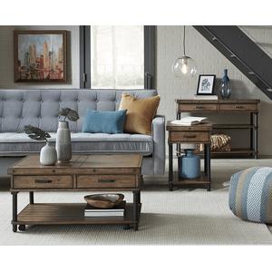 Null Furniture Inc - Rectangular End in Warm Pecan finish Matte Black base        (2117-05,53006)