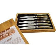 Laguiole en Aubrac Stainless Steel Steak Knives 6-Piece Set with Solid Horn Handle