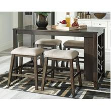 Rokane - Brown - 5 Pc. - Rectangular Counter Table with Storage & 4 Upholstered Stools