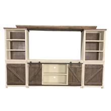 Braxton Antique White & Brown 62-inch Wall Unit