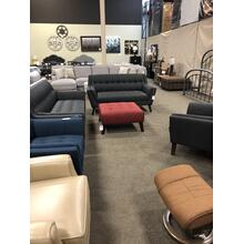 Mid-Century Style Sofa $649, Loveseat $599 and otto $399. 3 Colors to order from--Blue, Grey and red!