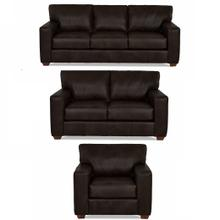 Sydney Java All Leather Sofa, Loveseat & Chair