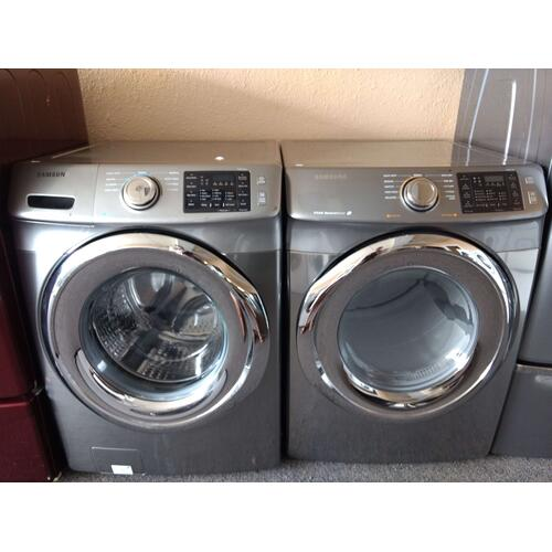 Refurbished  Silver STEAM Samsung Front Load Washer Dryer Set  Please call store if you would like additional pictures. This set carries our 6 month warranty, MANUFACTURER WARRANTY AND REBATES ARE NOT VALID (Sold only as a set)