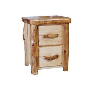 2 Drawer Nightstand Flat Front Natural Panel Natural Log