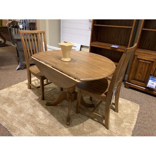 John Thomas Furniture - Round Folding Dining Table w. Matching Chairs (2)