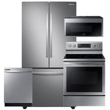 See Details - SAMSUNG Stainless Steel 28 cu. ft. Large Capacity 3-Door French Door Refrigerator 4 Pc Package- Open Box