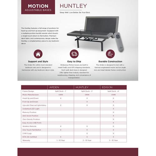 GLIDEAWAY GM-020 Adjustable Comfort Motion Adjustable Base Huntley