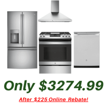 GE Kitchen Suite with Convection Slide-in Stove and 28 Cubic Ft Refrigerator