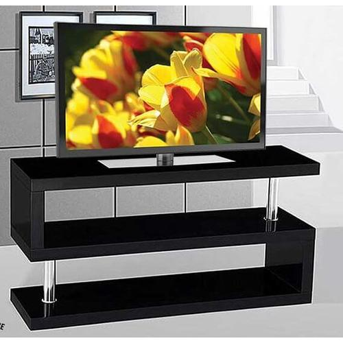 Glossy Black TV Stand with Chrome