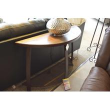 IFD rounded rustic sofa table with metal mesh lower shelf.