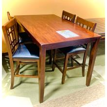 3' X 6'  PUB TABLE & 4 STOOLS   (floor sample)  *ASIS*     (*MISCSALE,STOOLS75122)