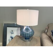 Blue Glass Table Lamp with Drum Shade