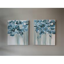 Pair of Blue Floral Painted Canvases