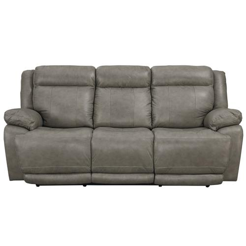 Evo Pewter Leather Power Reclining Sofa with Power Tilt Headrests
