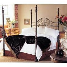 Wesley Allen Queen Size Maxwell 4 poster bed shown in copper/black floor sample as is