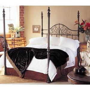 Wesley Allen Queen Size Maxwell 4 poster bed shown in copper/black floor sample as is