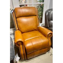 Top grain leather recliner with power recline and headrest
