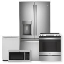 See Details - GE 27.7 Cu. Ft. Fingerprint Resistant French-Door Refrigerator 4 Piece Package- Open Box