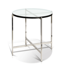 See Details - Simple Round Glass Top Chrome End Table