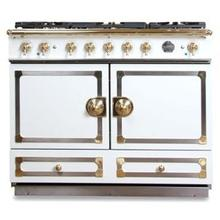 "CornuFe 110 cm Dual-Fuel Range (43"")- Ivory White w/ Satin Chrome & Polished Brass Trim"