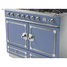 CornuFe 110 Dual Fuel Range -  Provence Blue with Stainless Steel and Polished Chrome Trim