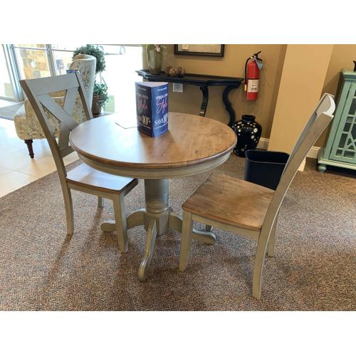 """36"""" Round Dining Table with 2 X-Back Chairs"""