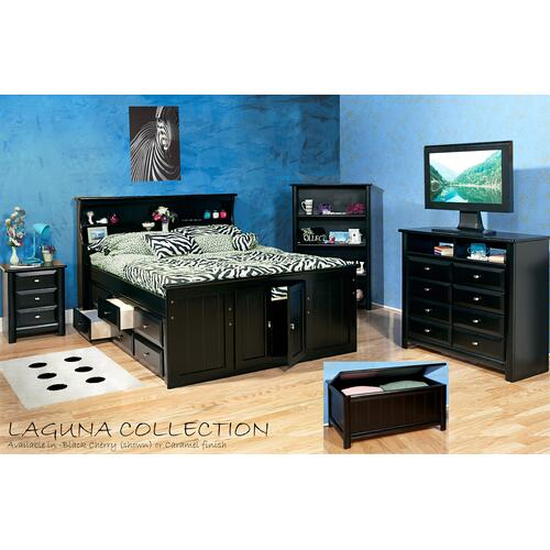 "Queen Captains Bed W"" 6 Drawers Black Cherry"