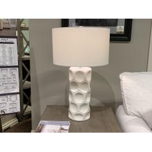 White Ceramic Table Lamp with Drum Shade