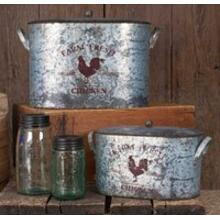 Set of 2 Farm Fresh Bucket with Lid