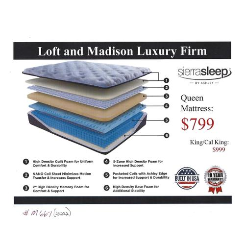 Ashley M667 Loft and Madison Luxury Firm Mattress in Queen and King size
